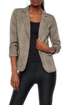 Plaid Ruched Sleeve Blazer with Glitter Trim - 1414068513689
