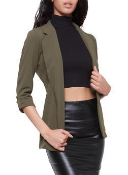 Tabbed Sleeve Open Front Blazer - 1414068516593