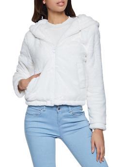 Hooded Faux Fur Zip Front Jacket - 1414069390325