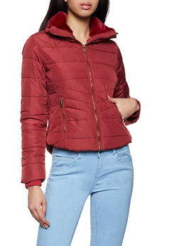 Ribbed Panel Puffer Jacket - 1414069390355