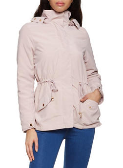 Hooded Faux Fur Lined Anorak Jacket - 1414069390425