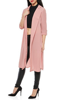 Crepe Knit Open Front Duster - 1414069392174