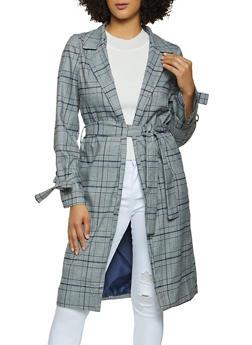 Plaid Tie Waist Trench Jacket - 1414069392322