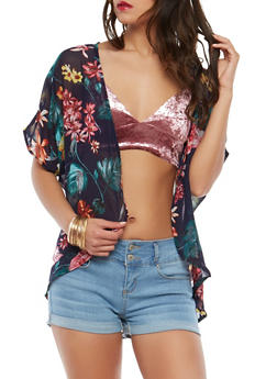 Sheer Floral Kimono - 1414069392583
