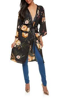 Floral Tie Waist Kimono - 1414069392585