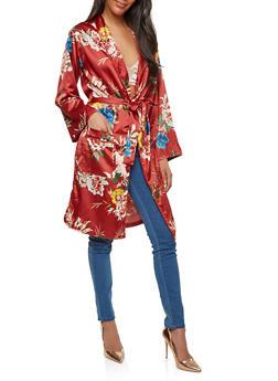 Floral Satin Tie Waist Kimono - 1414069392607