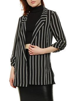 Striped Roll Cuff Blazer - 1414069392614