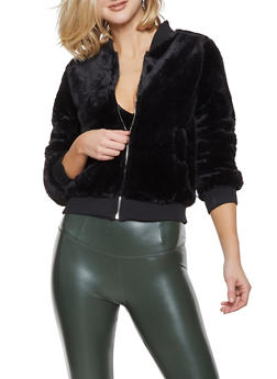 Faux Fur Bomber Jacket - 1414069392639