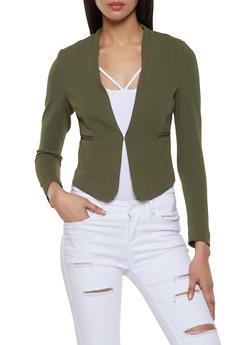 Textured Knit Front Closure Blazer - 1414069393472