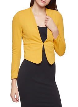 Textured Knit Front Closure Blazer - 1414069393472