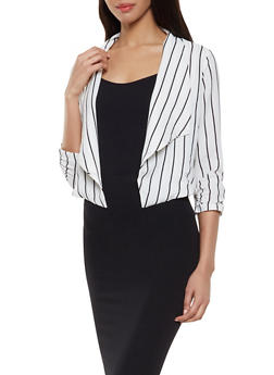 Striped Crepe Knit Flyaway Blazer - 1414069393502