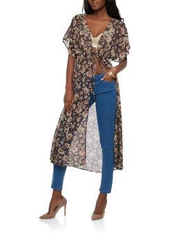 Floral Tie Front Kimono - 1414069396600