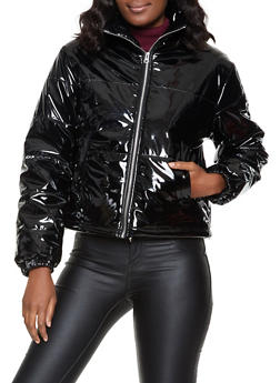 Faux Patent Leather Bubble Jacket - 1414069397056