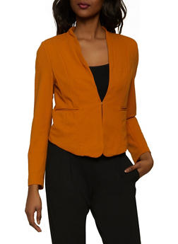 Solid Textured Knit Blazer - 1414069399121