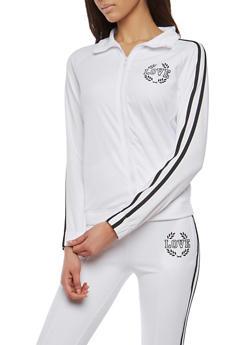Love Graphic Side Stripe Track Jacket - 1414072290004