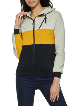 Color Block Zip Up Hooded Sweatshirt - 1416038204008