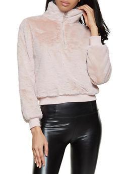 Faux Fur Zip Pullover Sweatshirt - 1416038205026