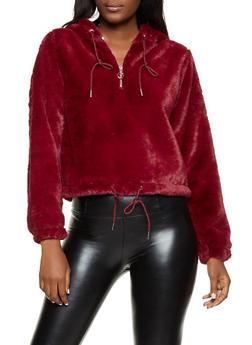 Hooded Faux Fur Half Zip Sweatshirt - 1416038205028