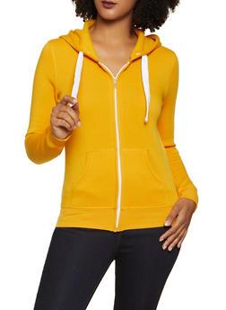 Solid Zip Front Sweatshirt - 1416062703057