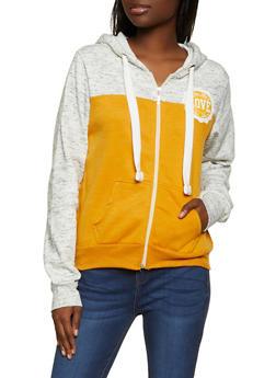 Color Block Love Zip Up Sweatshirt - 1416062703205