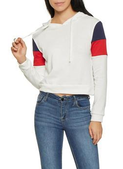 Color Blocked Hooded Sweatshirt - 1416066493498