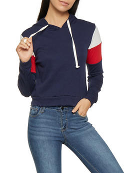Color Blocked Hooded Sweatshirt - 1416066493498