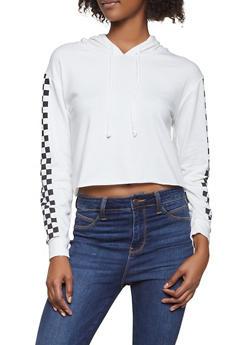 Raw Hem Checkered Sleeve Hooded Sweatshirt - 1416066493937