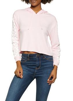 Checkered Sleeve Hooded Sweatshirt - 1416066493937