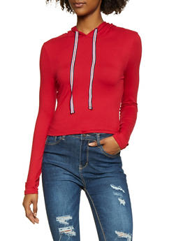 Striped Ribbon Drawstring Hooded Top - 1416069390573