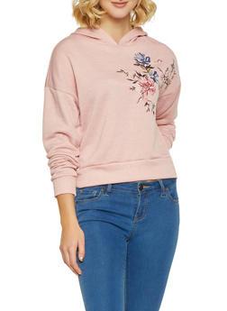 Embroidered Hooded Sweatshirt - 1416069391611