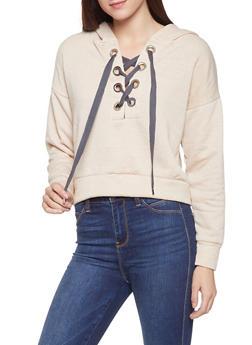 Grommet Lace Up Hooded Sweatshirt - 1416069391614