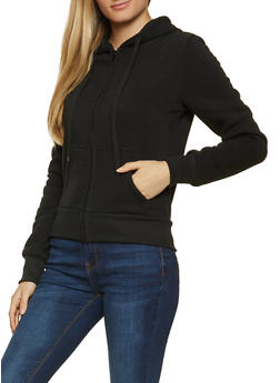Solid Zip Hooded Sweatshirt - 1416072291666