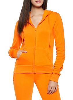 Solid Zip Hooded Sweatshirt - 1416072291666