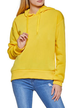 Solid Pullover Fleece Lined Sweatshirt - 1416072292820