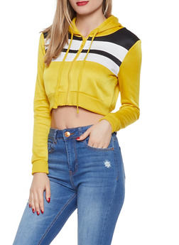 Striped Cropped Sweatshirt - 1416074710507