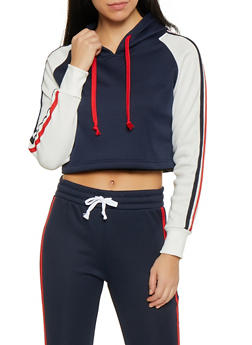 Color Block Varsity Stripe Sweatshirt - 1416074710720