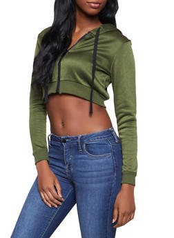 Cropped Zip Front Sweatshirt - 1416074716120