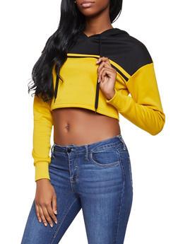 Color Block Cropped Sweatshirt - 1416074718522