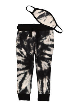 Toddler Boys Tie Dye Joggers and Face Mask - 1502063372000