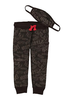 Toddler Boys Hustle Joggers and Face Mask - 1502063372001