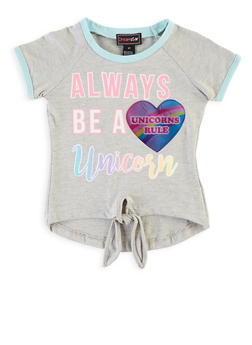 Toddler Girls Unicorn Holographic Patch Tee - 1503073990005
