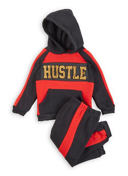 Toddler Boys 3D Foil Hustle Graphic Sweatshirt and Joggers - 1515054734891