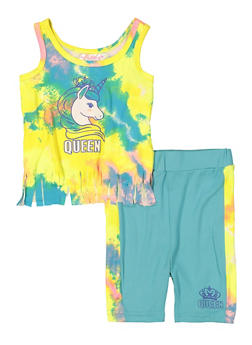 Baby Girls Tie Dye Fringe Tank Top and Shorts - 1543038340001