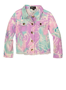 Baby Girls Printed Button Front Jacket - 1565038340002