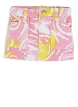 Baby Girls Paint Brushed Pattern Denim Skirt - 1566038340013