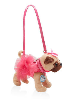 Girls Plush Sequined Pug Purse - 1595038480103