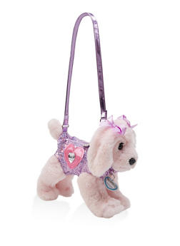 Girls Plush Sequined Dog Bag - 1595038480105