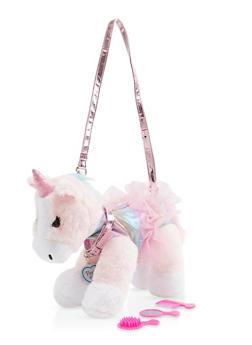 Girls Plush Unicorn Purse - 1595038480174