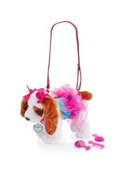 Girls Plush Sequin Puppy Purse - 1595038480191