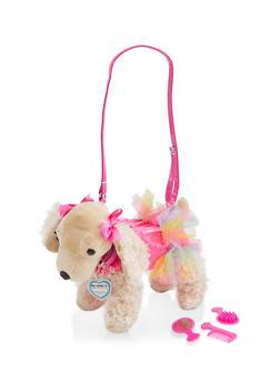 Girls Plush Glitter Skirt Puppy Purse - 1595038480192